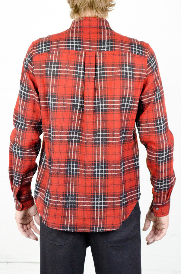 Men's Odin Worsted Wool Red Plaid Gauze Shirt
