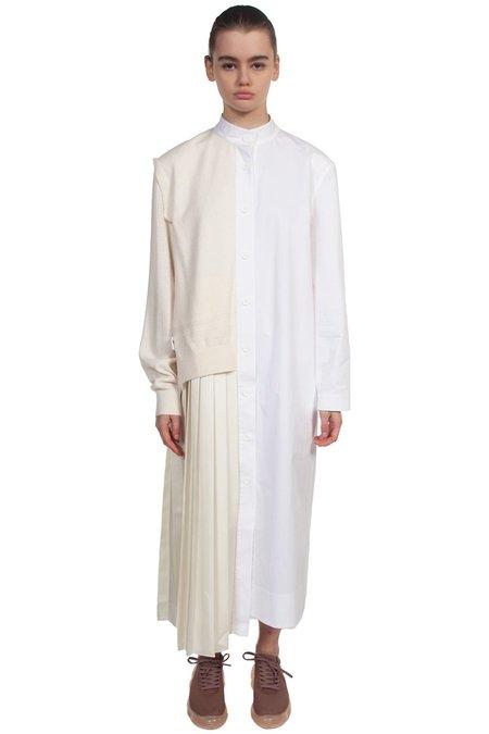 Recode Pleated Long Shirt Dress - Ivory