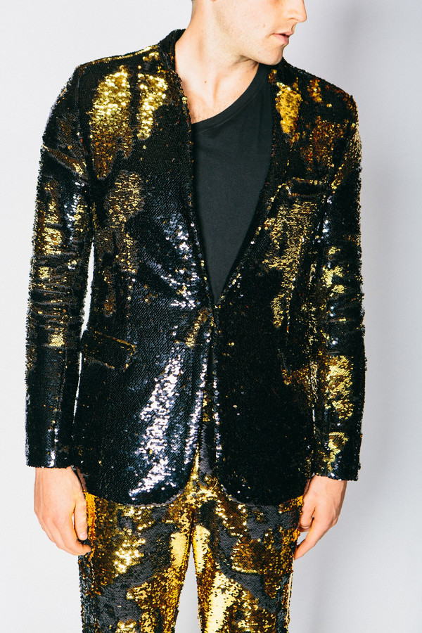 Men's Any Old Iron Gold/Black Sequin Suit Jacket