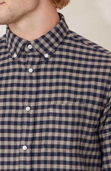 Officine Generale Antime Checked Twill Flannel Shirt - Navy/Camel