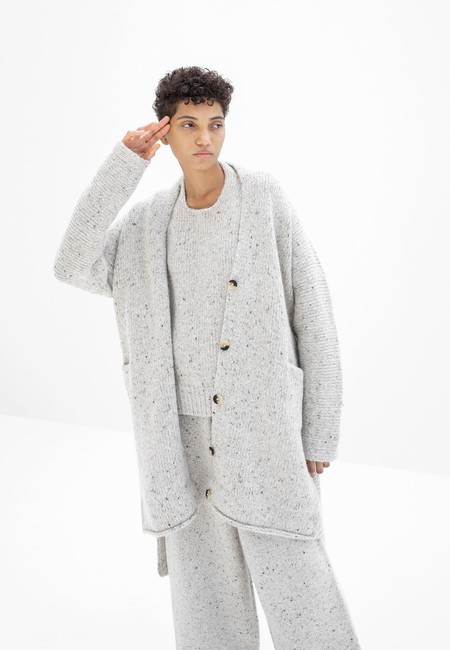 Lauren Manoogian Grandpa Cardigan - White Tweed