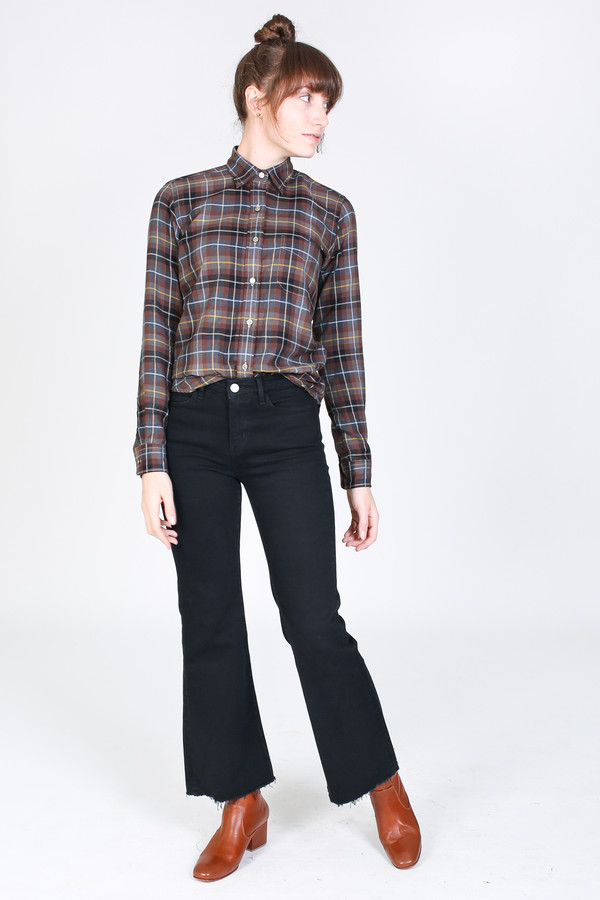 New England Shirt Company Laura Button-Up in Brown Plaid
