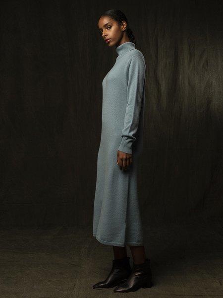 Pure Cashmere NYC Turtleneck Maxi Dress - Steel Blue