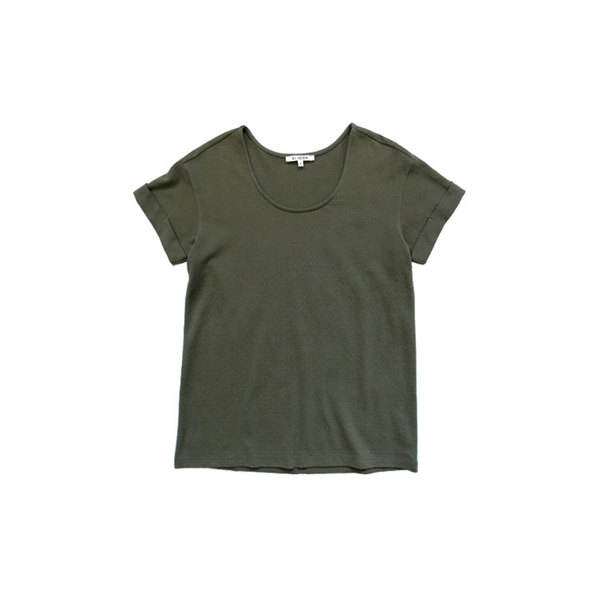 Ali Golden Roll Sleeve Tee - Olive