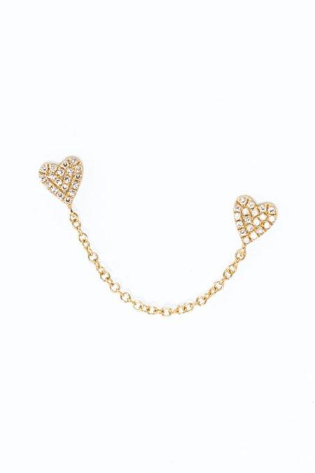 Pade Vavra 14k Yellow Gold Chain Of Hearts Studs