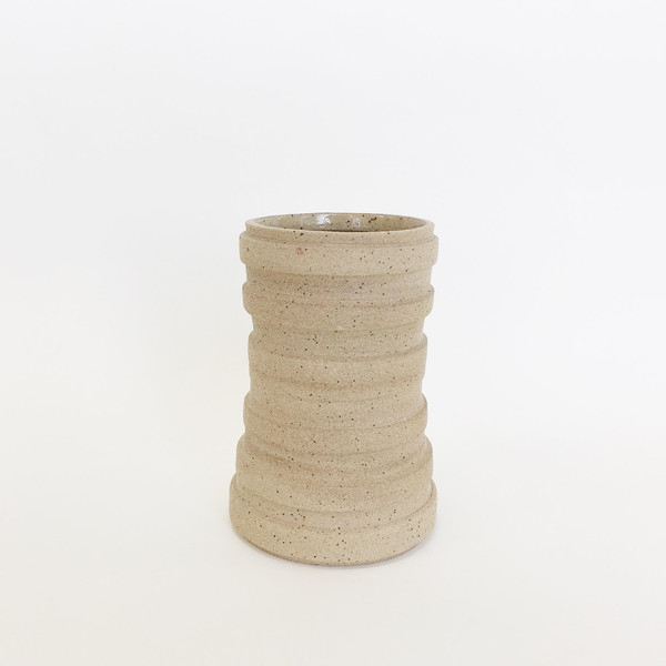Ashley Hardy Large Sand Oversized Ribbed Vase