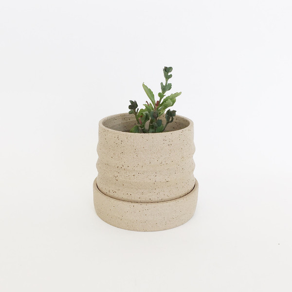 Ashley Hardy Sand Pleated Planter with Base