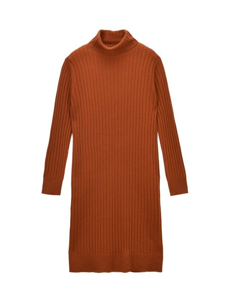 Pure Cashmere NYC Rib Turtleneck Dress - Heather Orange