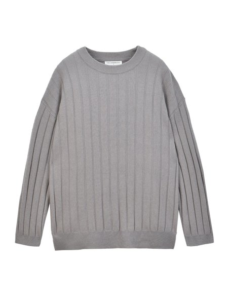 Unisex Pure Cashmere NYC Ribbed Crew Neck Sweater - Pebble