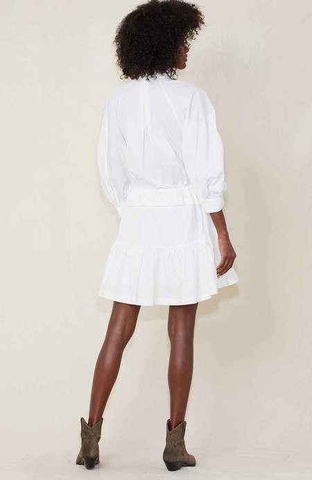 FRAME Denim Ruched Sleeve Dress - Blanc
