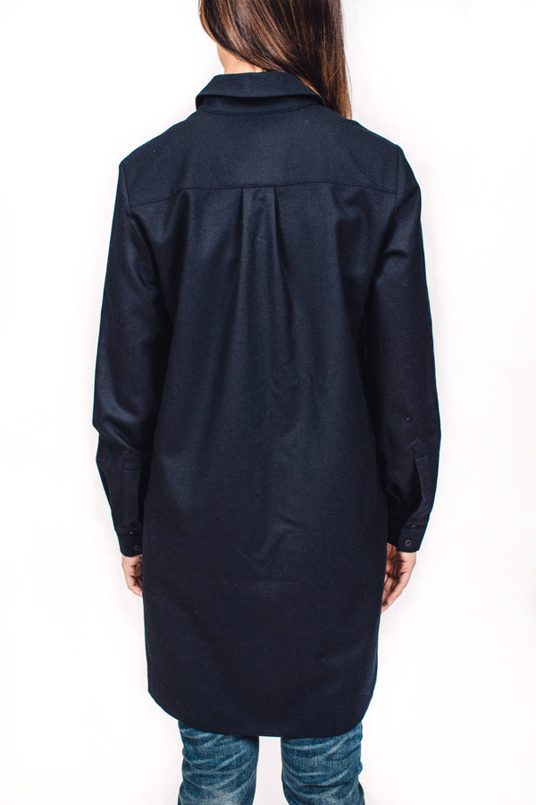 YMC Wool Shirt Dress Navy
