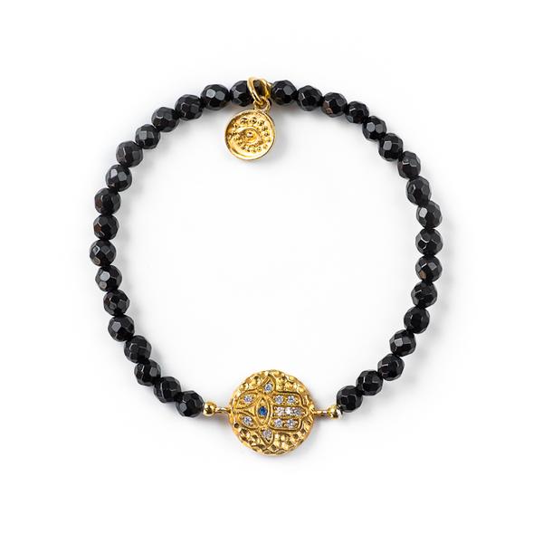 Blee Inara Black beaded hamsa bracelet