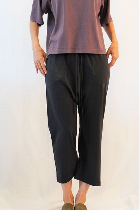 a mente Cotton Draw String Beggie Pants - Charcoal Black