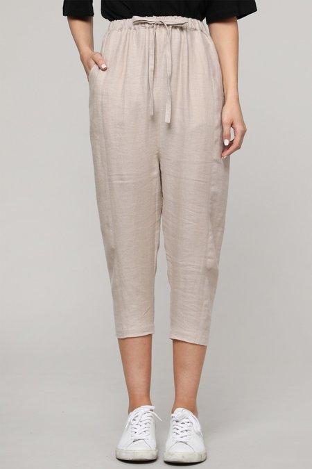 a mente Easy Linen Crop Pants - Wheat