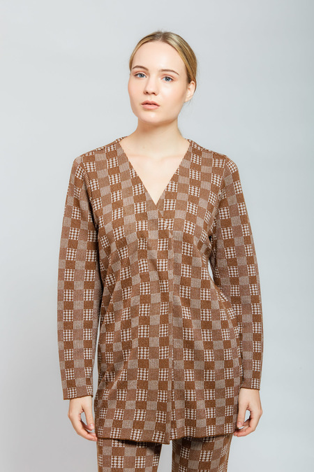 Amanda Marie Plaid Jacket without Throws - Brown
