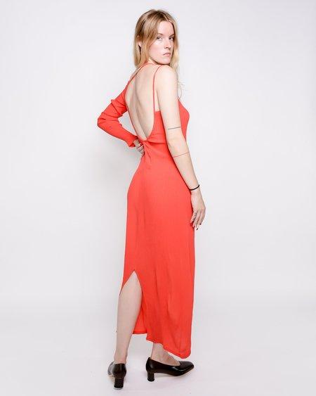 Paloma Wool Linde Asymmetrical Crinkle Dress - Red