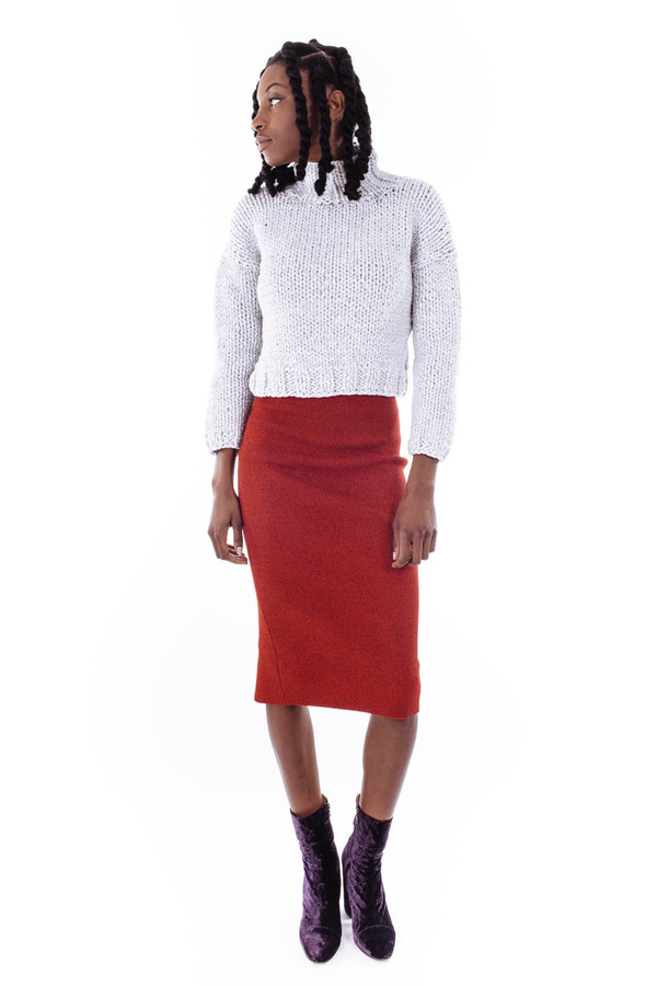 Nanushka Aran Knit Pencil Skirt