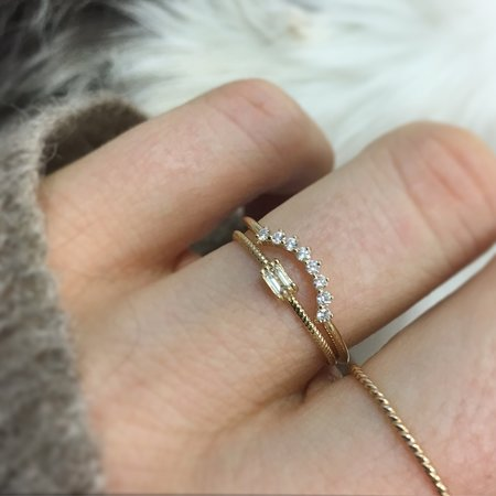 La Kaiser Golden Grace Twist Ring - 14kt Gold/Diamond