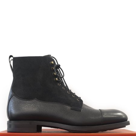 Carmina Black Suede and Black Karangrein Field Boots Oscar Last