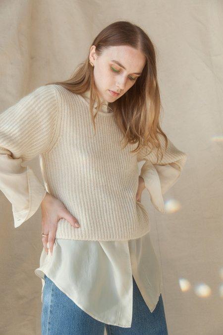 AMOMENTO Kid Mohair Half Sleeve Pullover - Ivory
