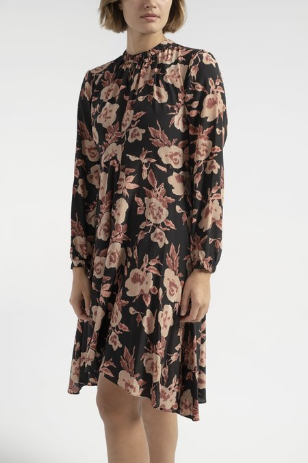 No.6 Luna Dress - Black/Peach Ikat