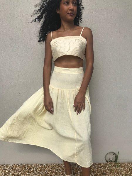 [pre-loved] gauze skirt - butter
