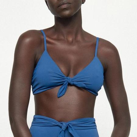 Mara Hoffman Carla Knot Front Bikini Top - Pacific Blue