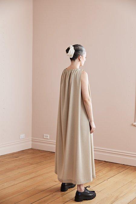 Harris Tapper Nina Gathered Suiting Twill Maxi Dress - Beige