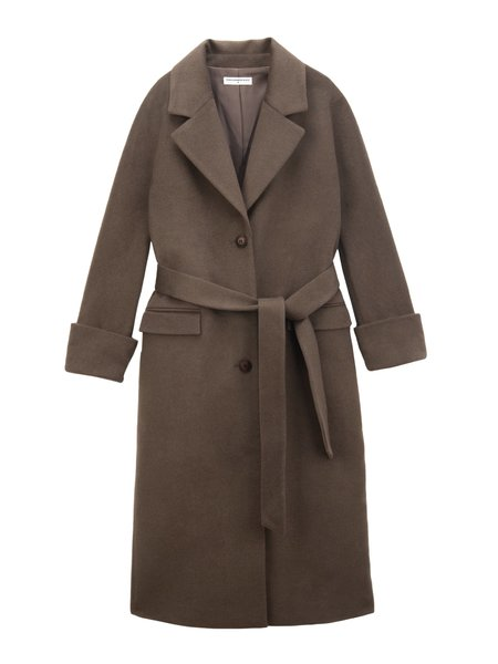 PURE CASHMERE NYC Belted Coat - Cocoa Brown
