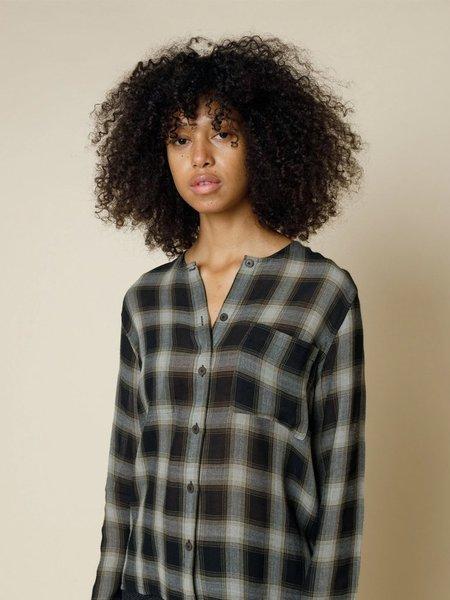 Folk Clothing Folk Collarless Shirt - Hazy Olive