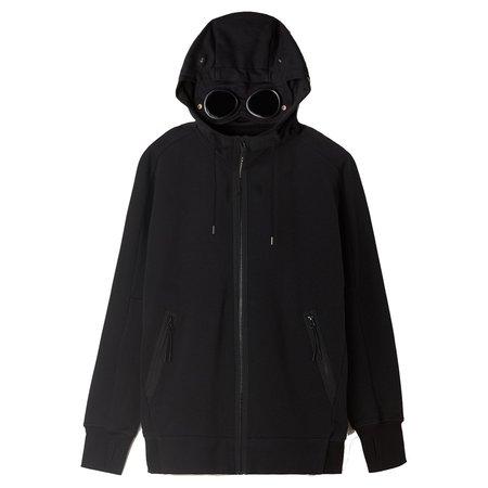 C.P. Company Diagonal Raised Fleece Full Zip Goggle Hoodie - Black
