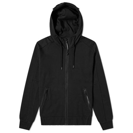 C.P. Company Diagonal Zip Through Goggle Hoody - Black