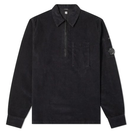 C.P. Company Old Dyed Stretch Corduroy Quarter Zip Lens Shirt - Black