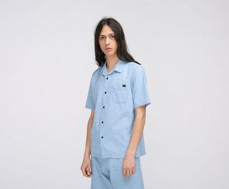 EDWIN Resort Shirt Short Sleeve Blue - Light Stone Washed