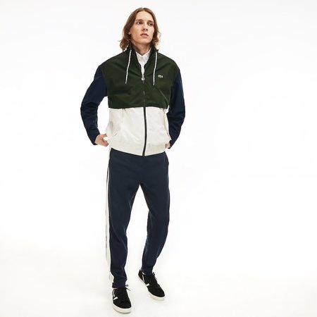 Lacoste Double Neck Colourblock Water-Resistant Zip Jacket - White/Khaki Green/Navy Blue