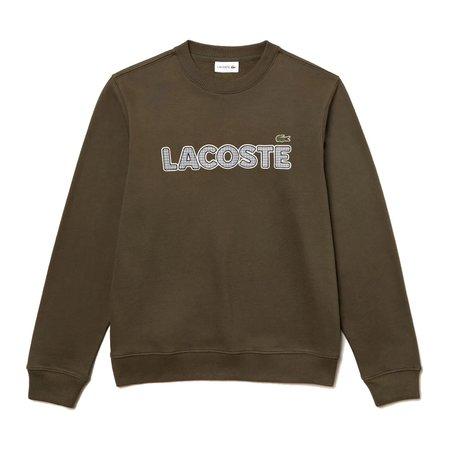 Lacoste Men's Crew Neck Check Lacoste Badge Fleece Sweatshirt - Khaki Green