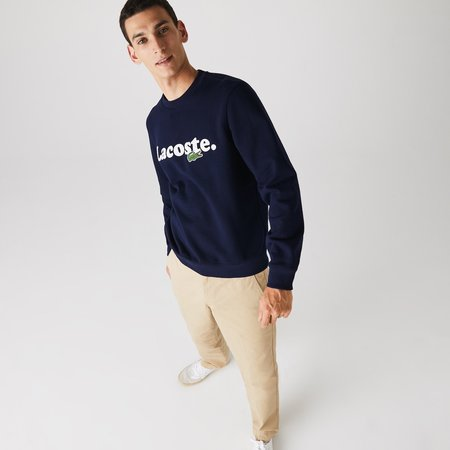 Lacoste Men's Lacoste And Crocodile Branded Fleece Sweatshirt - Navy blue