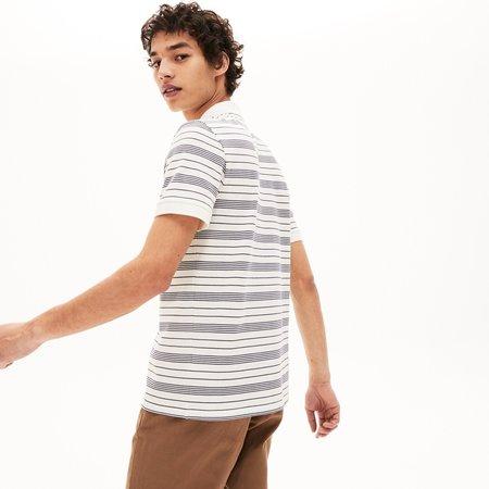 LACOSTE Regular Fit Striped Cotton Piqué Polo Shirt - White / Navy Blue