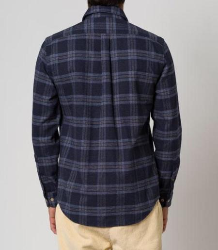 PORTUGUESE FLANNEL ABSTRACT CHECK TOP - Blue/grey