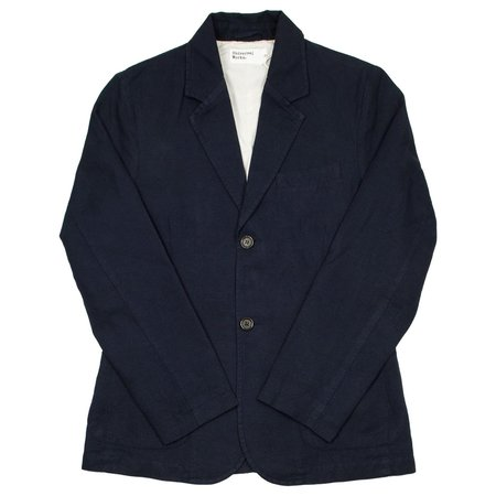 UNIVERSAL WORKS Two Button Cotton Linen Panama Jacket - Navy