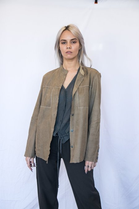 Transit Lightweight Leather Jacket with Contrast Stitching - Deer