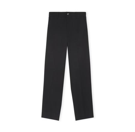 Ganni Cropped Crepe Pants - Black