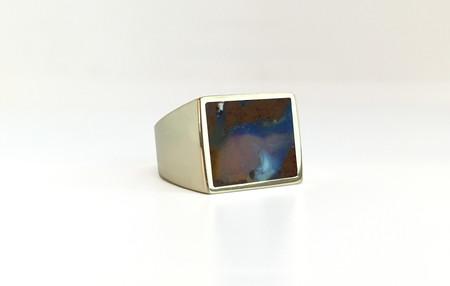 Unisex Legier Australian Boulder Opal Stone Signet Ring
