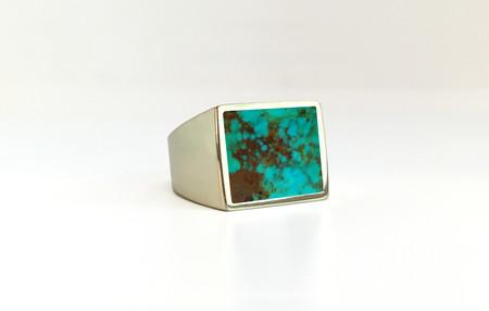 Unisex Legier Turquoise Stone Signet Ring