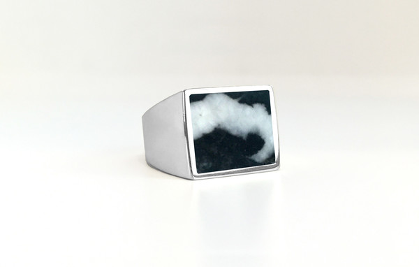 Unisex Legier Zebra Jasper Stone Signet Ring