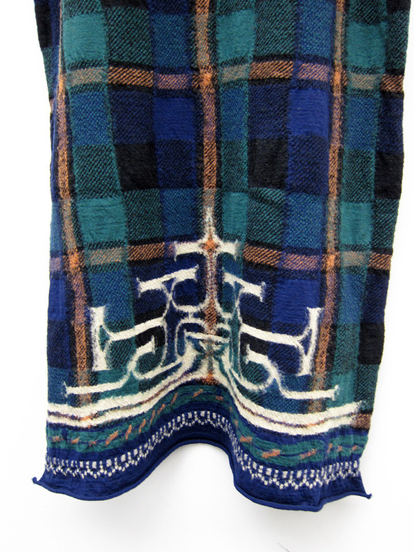 Kapital Compressed Wool Scarf, Tartan Ainu, Navy