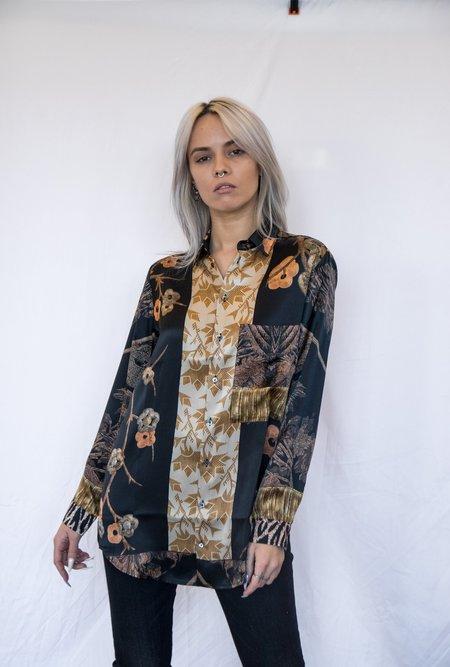 Pierre Louis Mascia Silk Printed Button Down shirt - Black