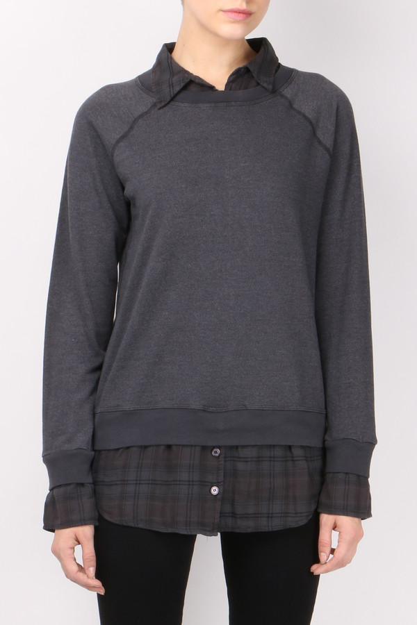Monrow Plaid Double Layer Sweatshirt