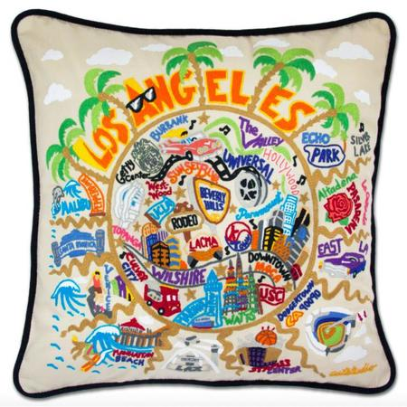 Catstudio Hand Embroidered Los Angeles Pillow