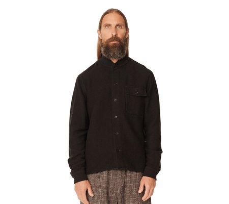 YMC Cotton Viscose Delinquents Rib Collar Shirt - Black